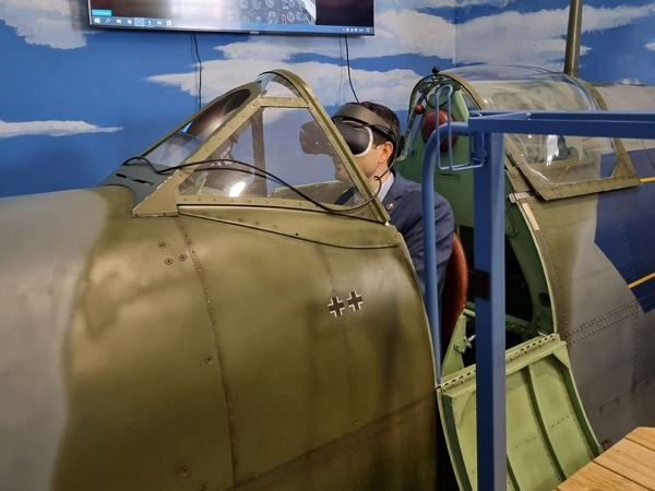 Defence Minister flies the Spitfire