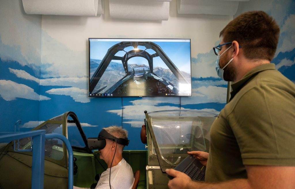 VIP guest flying the Spitfire simulator
